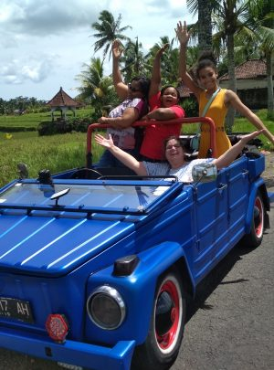 West Bali jeep tour people in vw convertible