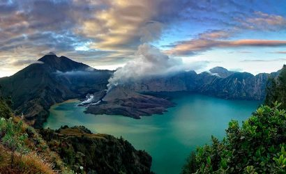 Rinjani summit trek crater lake on Lombok